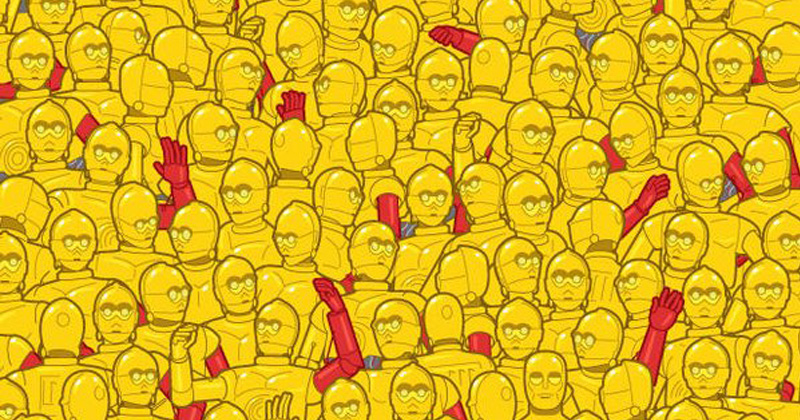 Can you find the C-3PO hidden in this sea of Oscar statues?