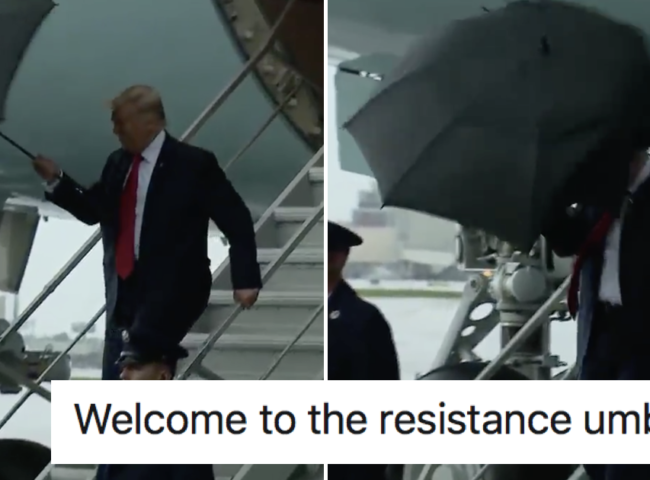 Donald Trump being beaten up by his umbrella is time very well spent