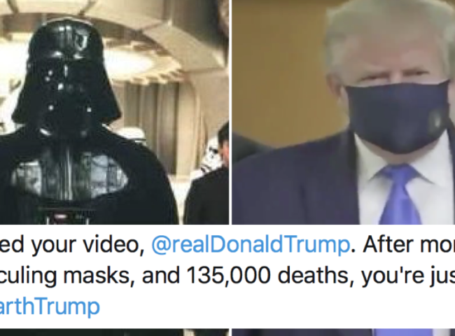 Donald Trump in a mask goes exactly as well with Star Wars' Imperial March as you thought it would